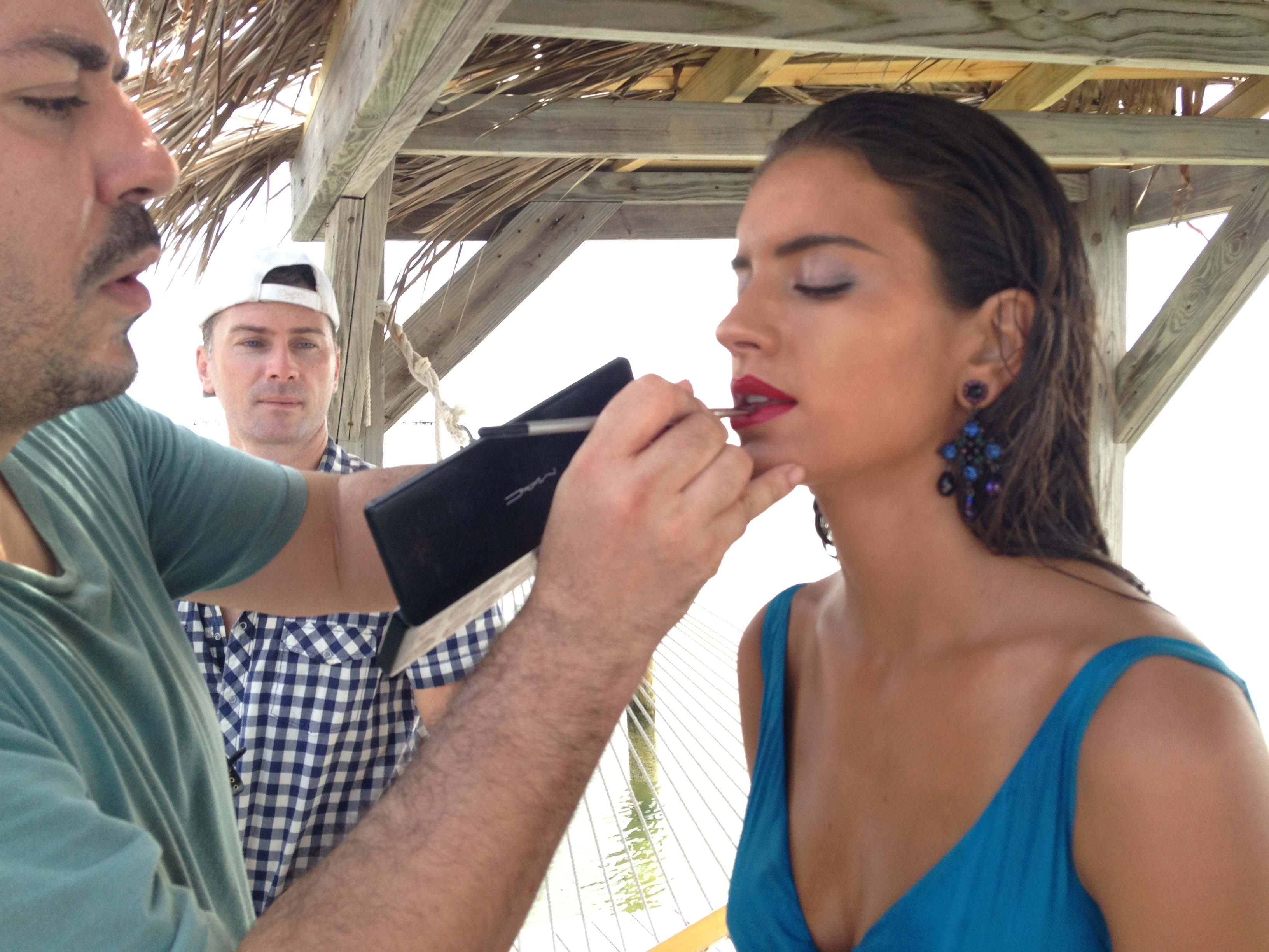 Model getting make up retouched