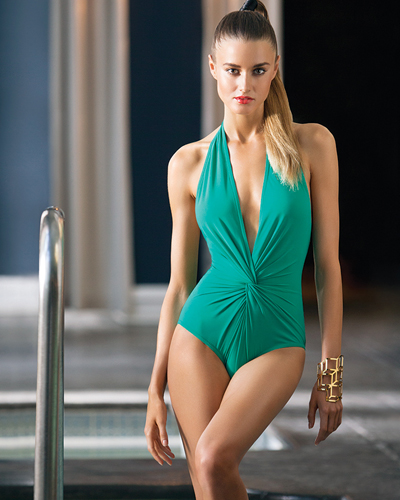 Basic One-Piece (Unconstructed) Collection • low plunge halter suit by #karlacolletto #earlycruise2015