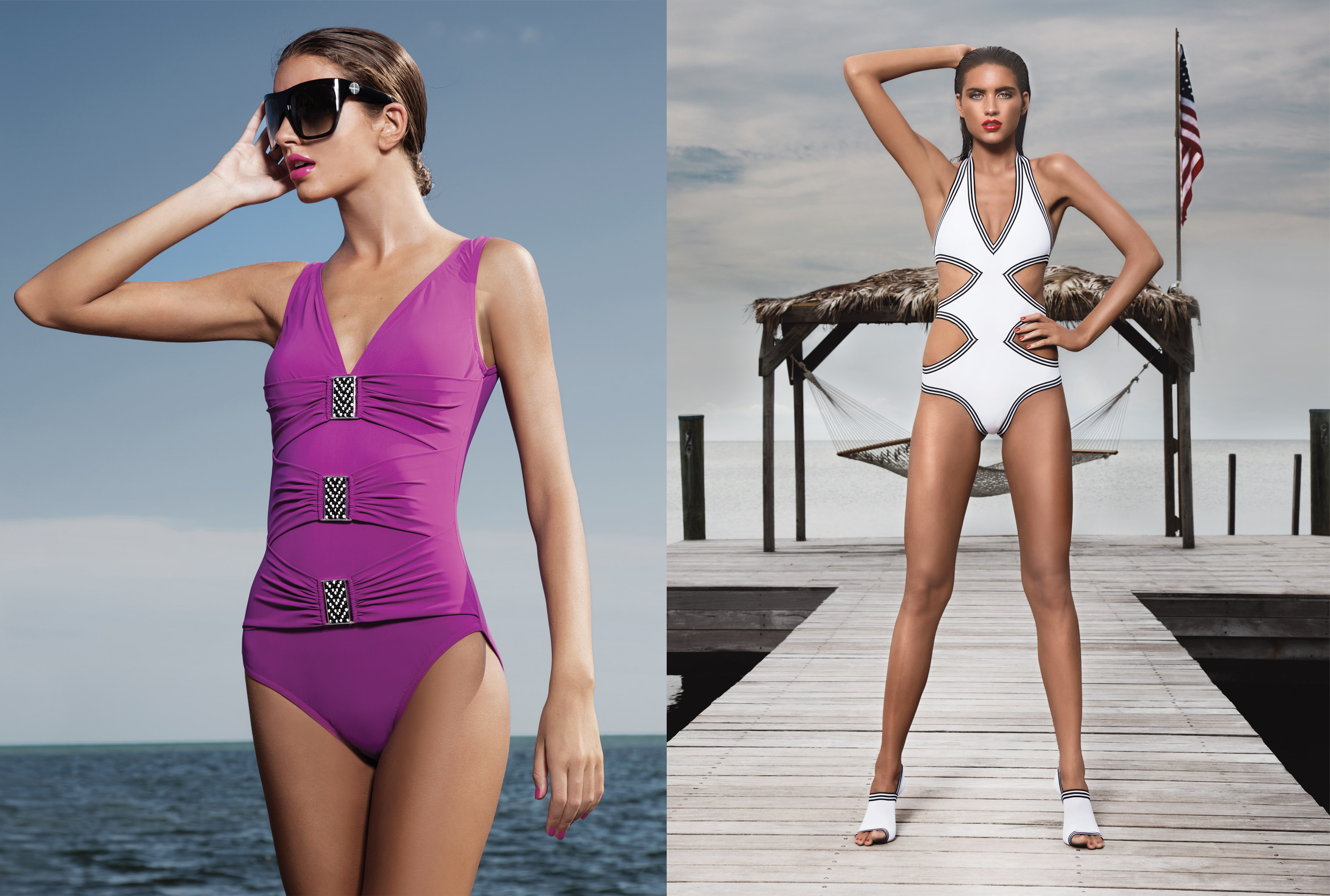 Beaded buckle and stripe trim Karla Colletto swimsuits